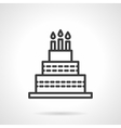Cake with candles black line design icon vector image