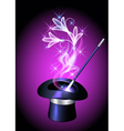 Conjurer hat and flowers vector image