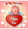Cute little angel for Valentines Day vector image
