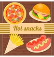 Hot snacks pizza hamburger sausages French fries vector image