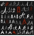 Set of 50 varied hand drawing letters A on black vector image
