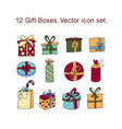 simple set of gifts thin line icons gift vector image