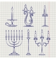 Candles set on notebook page vector image