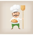 Cartoon baker with fresh bread and a shovel in his vector image vector image