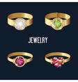 set icons rings gold gems isolated vector image