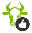 cow thumb up flat icon vector image