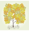 Tree with yellow leafage vector image