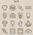 Outline Icons Set 8 vector image vector image