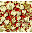 seamless golden floral ornament on red background vector image vector image