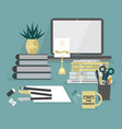abstract workaholic desk top icons on teal vector image