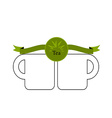 green tea cup and mint isolated on white vector image