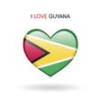 love guyana symbol flag heart glossy icon on a vector image