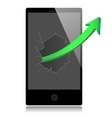 Smart phone with success growth green arrow vector image