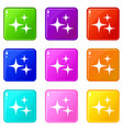 stars icons 9 set vector image