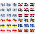 Uruguay Yemen North Ossetia Aland Set of 36 flags vector image