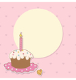 Birthday background with cake and candle vector image