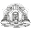 spacious hall and staircase drawing vector image