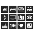 Black Hotel and motel icons vector image vector image