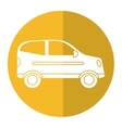 hatchback car vehicle side view yellow circle vector image