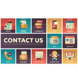 contact us - modern flat design icons set vector image