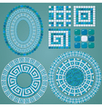 Set of Mosaic patterns - Blue ceramic oval and rou vector image vector image