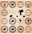 romantic post stamps for valentine day vector image