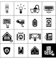 Smart House Icons Black vector image