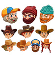 Human head wearing hats vector image vector image