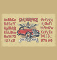 latin alphabet with numbers and retro car vector image