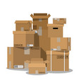 pile of stacked sealed cardboard boxes vector image