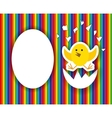 Cracked egg with cute chicks insidehappy birthday vector image