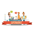 Customers At Supermarket Checkout Cartoon vector image