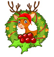 Christmas theme with reindeer and mistletoes vector image