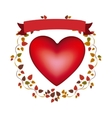 arch of autumn leaves with red heart and label vector image
