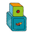 cubes blocks toy icon vector image