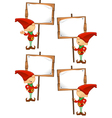 Red Elf Holding Wooden Sign vector image vector image