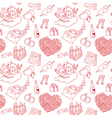 pattern with valentines doodles vector image