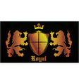 gold grunge emblem with shield vector image vector image
