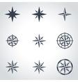 black wind rose icon set vector image vector image