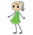 A lady in a green dress vector image