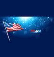 american flag waving in blue sky vector image