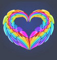 beautiful rainbow heart with realistic elements vector image