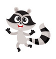 cute happy raccoon character raising paws in vector image