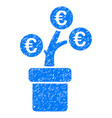 euro tree pot icon grunge watermark vector image