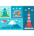 Flat design japan landmarks set vector image