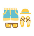 slippers shorts sun glasses and straw hat vector image