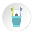 Cup with toothbrushes and toothpaste icon vector image