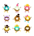 Humanized Doughnut Cartoon Characters With Arms vector image