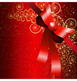 Red gift bow with floral curl vector image vector image