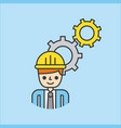 cartoon man worker construction manager with gears vector image